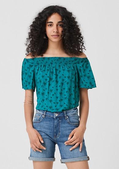 Off Shoulder-Bluse mit Palmen-Print
