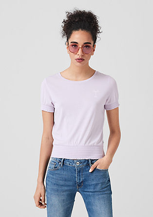 T-Shirt mit Smok-Details