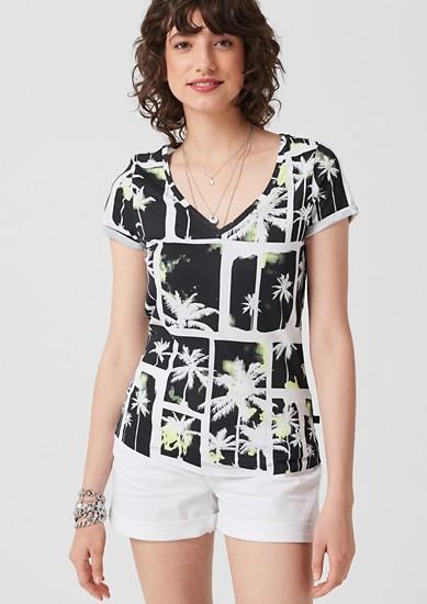 Katoenen shirt met tropische print
