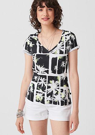 Baumwollshirt mit Tropical-Print