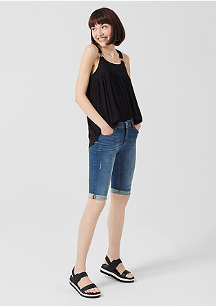 Sadie Superskinny: Denim-Bermuda