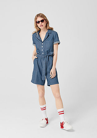 Short denim playsuit in cotton from s.Oliver