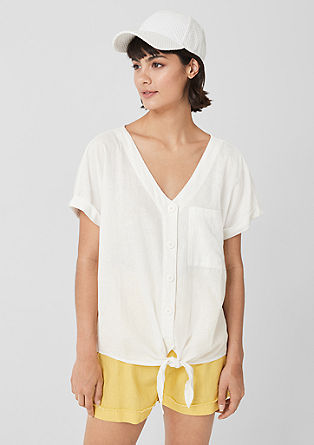 Knotted blouse in blended linen from s.Oliver