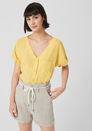 High-waisted blended linen shorts from s.Oliver