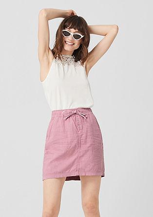 Krátká tkaná sukně ze směsi se lnem