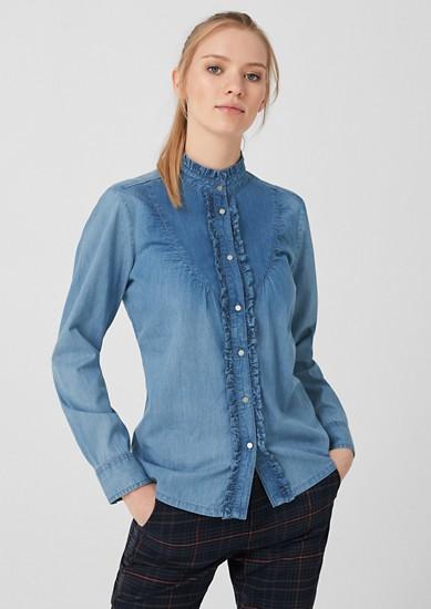 Jeansbluse mit Rüschen