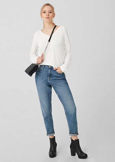 Fabric mix long sleeve blouse from s.Oliver