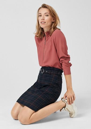 Károvaná sukně s pasem ve stylu paperbag