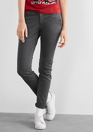 Slim: Stretchy satin chinos from s.Oliver
