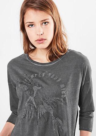 Pigment-dyed shirt met borduursel