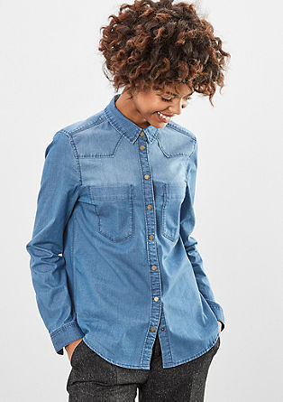 Denim shirt with a garment-washed effect from s.Oliver