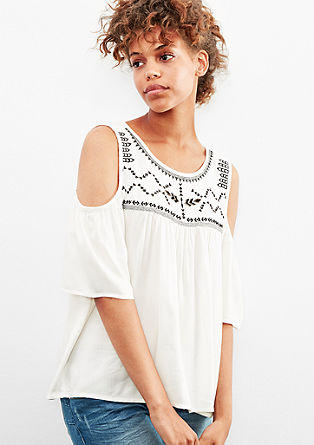 Bestickte Bluse mit Cut-outs