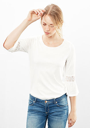 Long sleeve top with a lace insert from s.Oliver