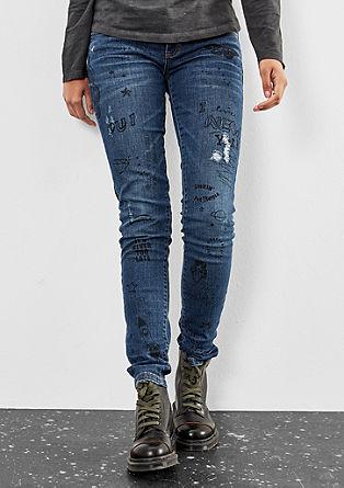 Catie slim: Beschilderde jeans