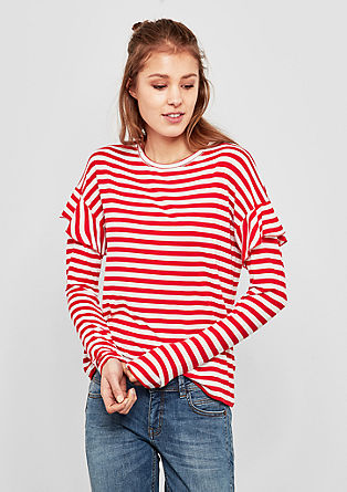 Striped top with flounces from s.Oliver