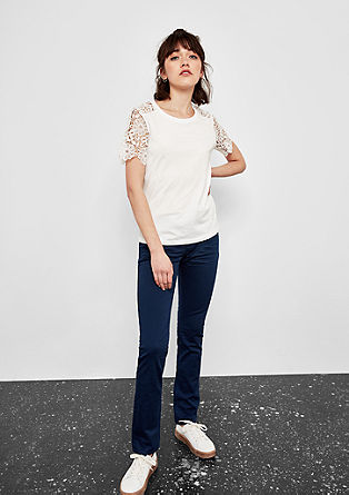 T-shirt with crochet lace from s.Oliver