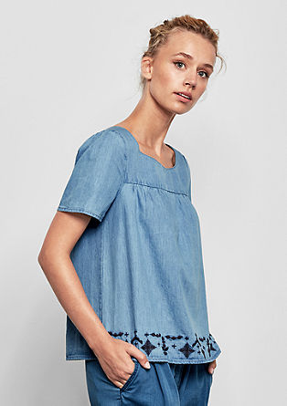 Embroidered denim blouse from s.Oliver