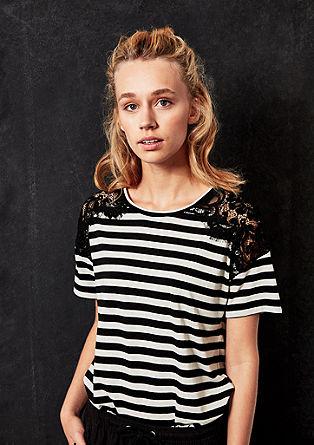 Leinenmix-Shirt mit Spitze