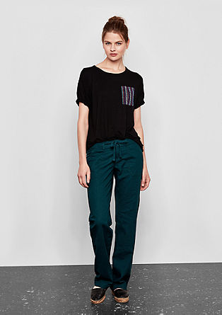 T-Shirt mit Glitter-Brusttasche