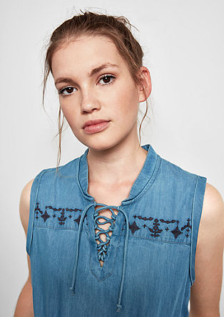 Denim dress with embroidery and lacing from s.Oliver