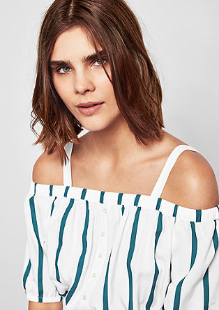 Off-the-shoulder jurk met strepen