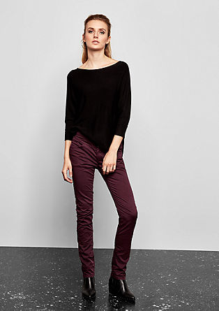 Catie Slim: Twill trousers with a crinkle effect from s.Oliver