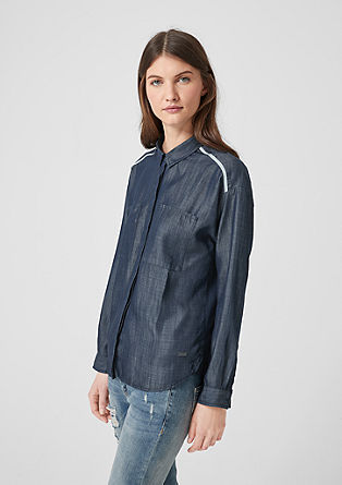 Light denim blouse with stripes from s.Oliver
