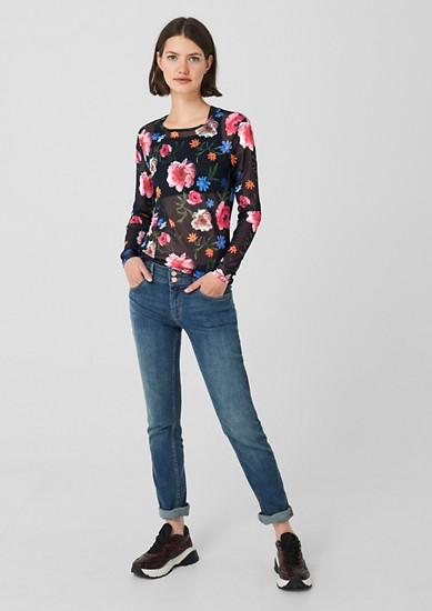 T-shirt en mesh à imprimé fleuri all-over de s.Oliver