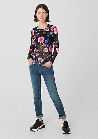 Mesh top with an all-over floral print from s.Oliver