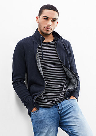 Sweatshirt jacket with a ribbed texture from s.Oliver
