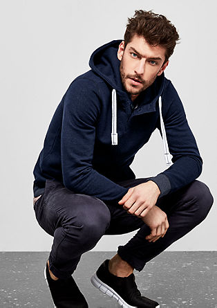 Hooded top with a button placket from s.Oliver