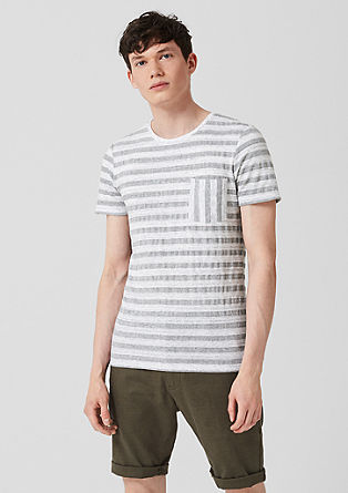 T-shirt with textured stripes from s.Oliver