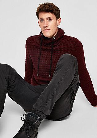 Pleten pulover s teksturo s puli ovratnikom