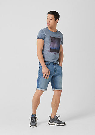 John loose: denim bermuda met stretch