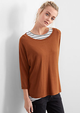 Soft, fine knit jumper with batwing sleeves from s.Oliver