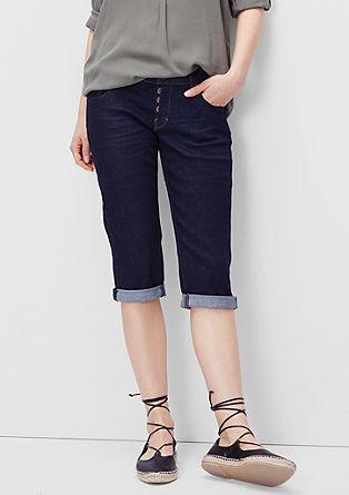 Slim: Capri-Jeans mit Knopfleiste