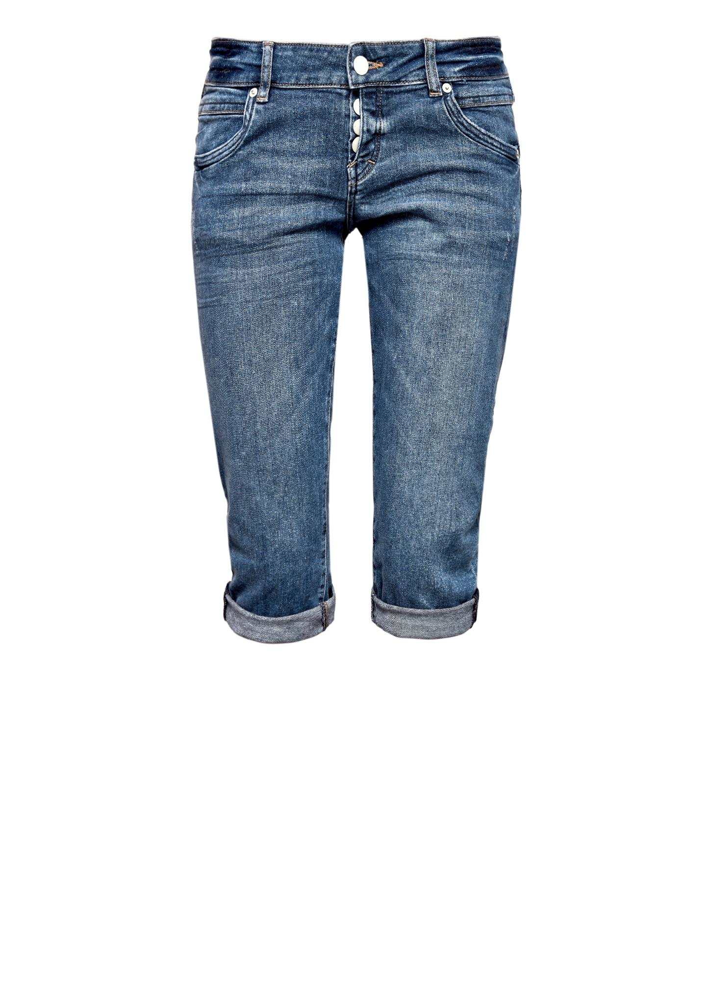 Capri-Jeans | Bekleidung > Jeans > Caprijeans | Blau | 99% baumwolle -  1% elasthan| enthält nichttextile teile tierischen ursprungs (leder-patch) | Q/S designed by