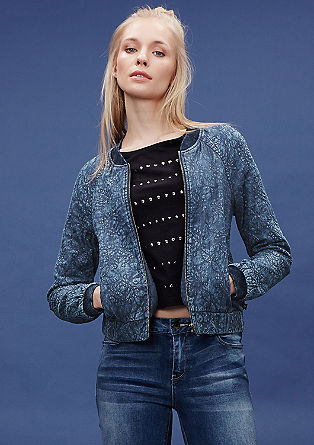 Blouson in Denim-Optik mit Stickerei