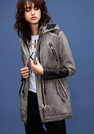 Hooded parka with imitation leather details from s.Oliver