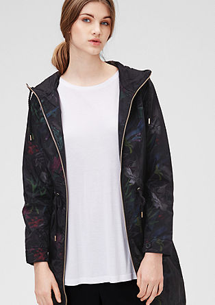 Hooded parka with a floral print from s.Oliver