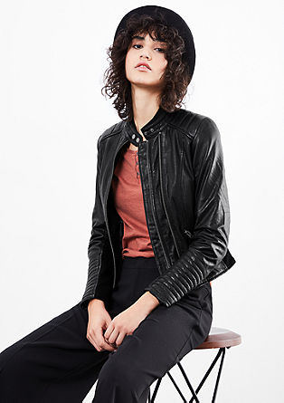 Biker-style leather jacket from s.Oliver