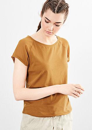 Majica kroja O z detajli v slogu bluze