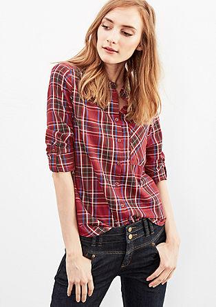 Bombažna bluza s karirastim vzorcem