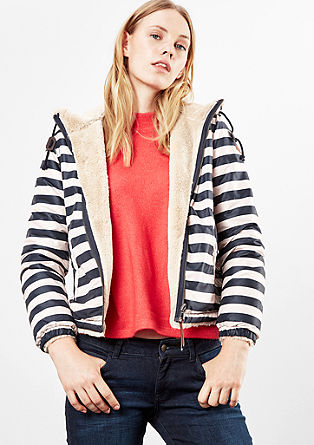 Reversible jacket with stripes and fake fur from s.Oliver
