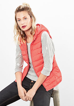 Fitted quilted body warmer with a hood from s.Oliver