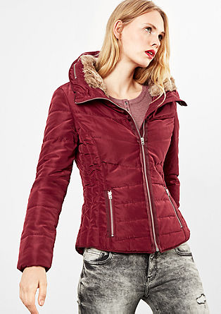 Quilted jacket with faux fur from s.Oliver