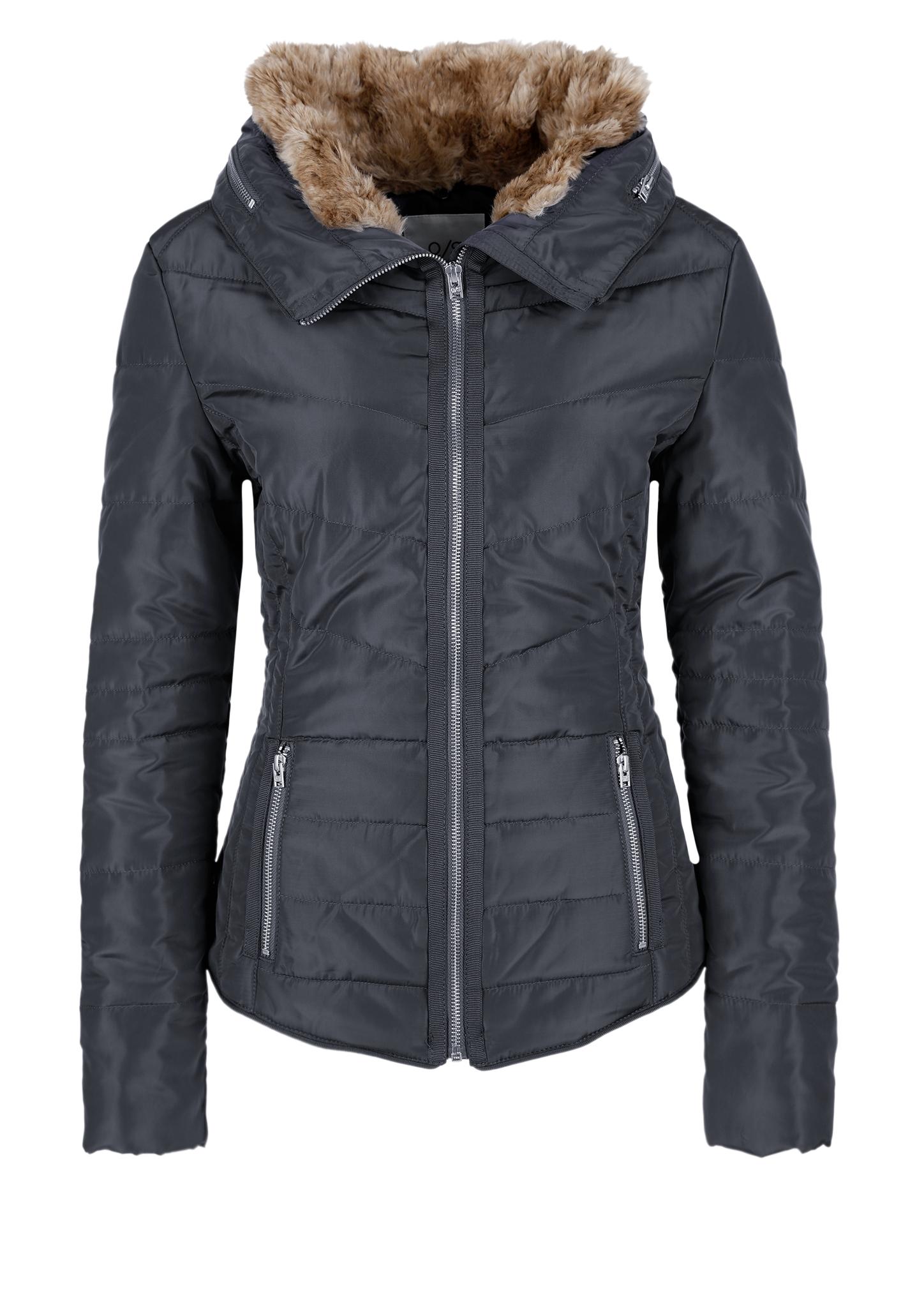 Outdoor-Jacke | Sportbekleidung > Sportjacken > Outdoorjacken | Grau/schwarz | Obermaterial 100% polyester| kunstpelz 85% polyacryl -  15% polyester futter 100% polyester| füllmaterial 100%  polyester | Q/S designed by