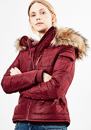Quilted down jacket with fake fur from s.Oliver