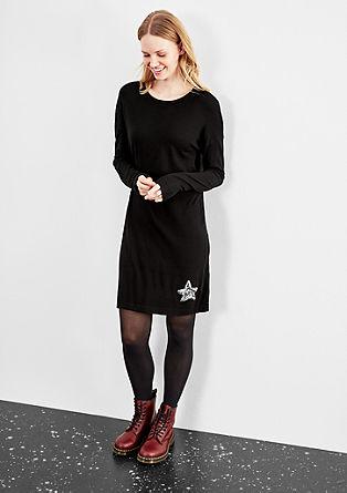 Jersey jurk met applicatie van pailletjes
