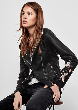 Embroidered biker jacket with studs from s.Oliver